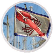 Lobster Flag At The Point Round Beach Towel