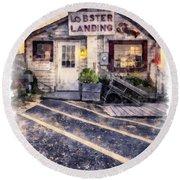 Lobster Landing New England Lobster Shack Round Beach Towel
