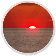 Lobster Pots Dance In The Sea  At Sunrise Round Beach Towel by Eunice Miller