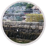 Round Beach Towel featuring the photograph New England Lobster by Eunice Miller