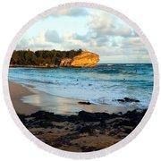 Local Surf Spot Kauai Round Beach Towel