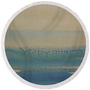 Round Beach Towel featuring the painting Loch Of My Heart by Mini Arora