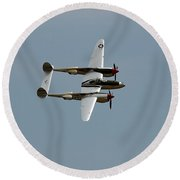 Lockheed P 38 Lightning Round Beach Towel by Richard J Cassato