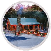 Round Beach Towel featuring the photograph Log Home On Mount Charleston With Christmas Decoration by Gunter Nezhoda