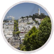 Lombard Street And Coit Tower On Telegraph Hill Round Beach Towel