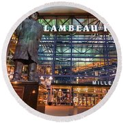 Lombardi At Lambeau Round Beach Towel