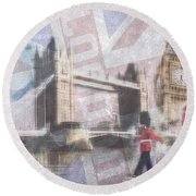 London Blue Round Beach Towel