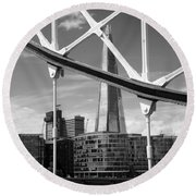 Round Beach Towel featuring the photograph London Bridge With The Shard by Chevy Fleet