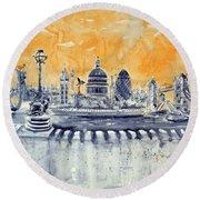 London By Night Round Beach Towel by Kovacs Anna Brigitta