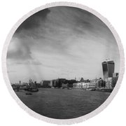 London City Panorama Round Beach Towel by Pixel Chimp