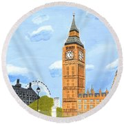 Round Beach Towel featuring the painting London England Big Ben  by Magdalena Frohnsdorff