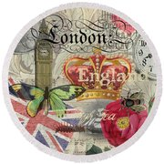 London England Vintage Travel Collage  Round Beach Towel