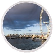 London Eye At South Bank, Thames River Round Beach Towel by Panoramic Images