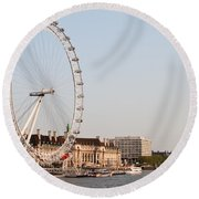 Round Beach Towel featuring the photograph London Eye Day by Matt Malloy