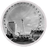 Round Beach Towel featuring the photograph London Eye Head-on Bw by Matt Malloy
