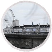 London Eye Mono Round Beach Towel by Jasna Buncic