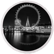 Round Beach Towel featuring the photograph London Eye Mono by Matt Malloy
