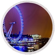Round Beach Towel featuring the photograph London Eye Night Glow by Matt Malloy
