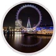 Round Beach Towel featuring the photograph London Eye Night by Matt Malloy