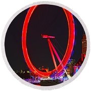 London Eye Red Round Beach Towel by Jasna Buncic