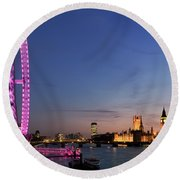 London Eye Round Beach Towel by Rod McLean