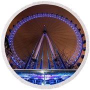 Round Beach Towel featuring the photograph London Eye Supports by Matt Malloy