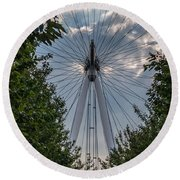 Round Beach Towel featuring the photograph London Eye Vertical Panorama by Matt Malloy
