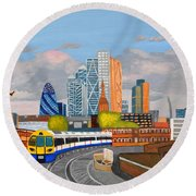Round Beach Towel featuring the painting London Overland Train-hoxton Station by Magdalena Frohnsdorff