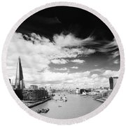 Round Beach Towel featuring the photograph London Panorama by Chevy Fleet
