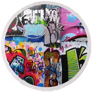 London Skate Park Abstract Round Beach Towel