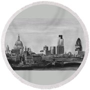 London Skyline Pencil Drawing Round Beach Towel
