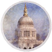 London St Pauls Fog 02 Round Beach Towel
