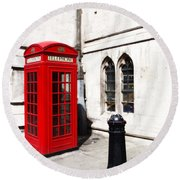 London Telephone Box Round Beach Towel