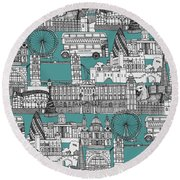 London Toile Blue Round Beach Towel by Sharon Turner