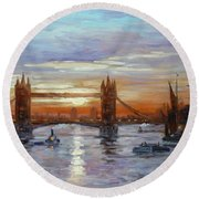 London Tower Bridge Round Beach Towel