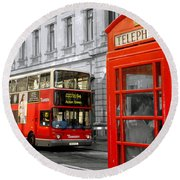 Round Beach Towel featuring the photograph London With A Touch Of Colour by Nina Ficur Feenan
