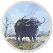 Round Beach Towel featuring the painting Lone Bull by Anthony Mwangi