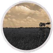 Lone Cypress II Round Beach Towel