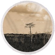 lone cypress III Round Beach Towel