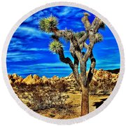 Round Beach Towel featuring the photograph Lone Joshua by Benjamin Yeager