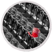 Lone Red Number 21 Fenway Park Bw Round Beach Towel
