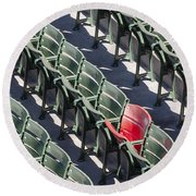 Lone Red Number 21 Fenway Park Round Beach Towel