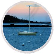 Lone Sailboat At York Maine Round Beach Towel