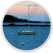 Lone Sailboat At York Maine Round Beach Towel by Denyse Duhaime