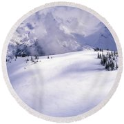 Lone Skier Deep In The Backcountry Round Beach Towel