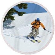 Lone Skier Making Turns In Alpine Round Beach Towel