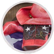Lone Star Gal 2 Round Beach Towel by Erika Weber