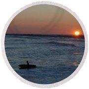 Lone Surfer Round Beach Towel