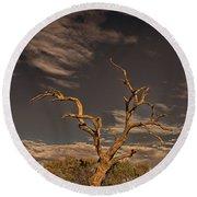 Lone Tree At Kings Canyon Rim Round Beach Towel