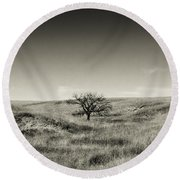 Lone Tree Winter Round Beach Towel